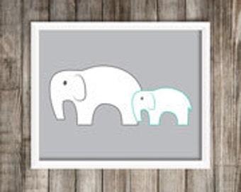 Modern Teal Elephant Art Print.  Elephant 8X10 Art Print ~ Digital Download.  Home Decor.  Elephant Decor.