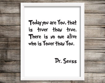 Dr. Seuss Typography Art Print.  Dr. Seuss Wall Decor 8X10 ~ Digital Download