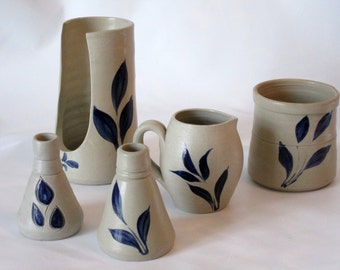 5 Piece Set of Williamsburg Pottery Salt Glazed with Blue Leaf Pattern.  Rustic Decor