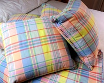 6 pc Ralph Lauren Full / Queen set   Plaid flat sheets 4 goose down Plaid Toss Pillows