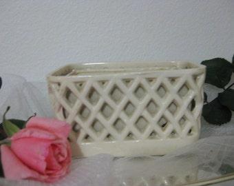 Vintage White Lattice Work Flower Vase Planter Box- Home & Bathroom Decor