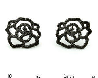 Black Floral Small Stud Earrings