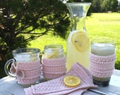 Star Stitch Dishcloth and Cup Cozies - CROCHET PATTERN - Tapered Glass, Mug, Mason Jar and Dishcloth Set