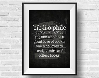 Bibliophile Definition Book Nerd Designer Original 8 x 10 Typography Art Dictionary Print - Chalkboard Black White - Frame It Yourself