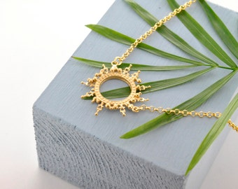 Gold Helios Crown Necklace