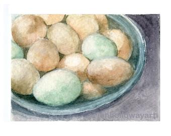 Watercolor Eggs, Eggs Print, Hens Eggs Print, Eggs Art, Chicken Egg Print