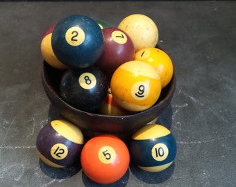 Complete Vintage Aramith Billiard Balls - Display Balls - Prop - Display - Centerpiece - Game Room Decor - Repurpose