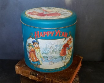 Tin. Rare Vintage Large Panettone Tin Battistero Metal Tin Container .  Canister .Tin box