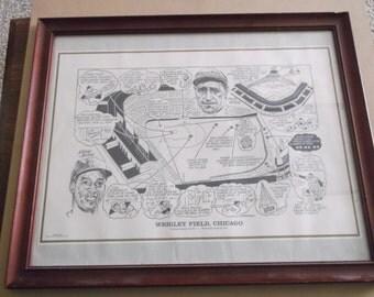 Vintage Wrigley Field,Chicago Print, Framed