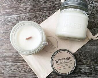CINNAMON & BALSAM Wood Wick Mason Jar Soy Candle 8oz Perfect Gift