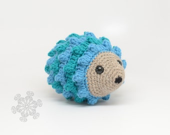 Blue and Teal Striped Hedgehog, Hand Crocheted Stuffed Animal