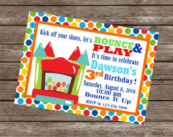 BOUNCY HOUSE Birthday Party or Baby Shower Invitations Set of 12 {1 Dozen} - Party Packs Available