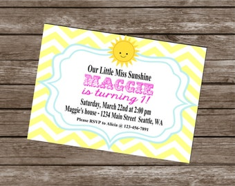 LITTLE MISS SUNSHINE Happy Birthday Party or Baby Shower Invitations Set of 12 {1 Dozen} - Party Packs Available