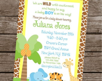 JUNGLE SAFARI Birthday Party or Baby Shower Invitations Set of 12 {1 Dozen} - Party Packs Available