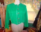 Vintage Vogue Paris Original Green Velvet Jacket