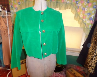 Vintage Vogue Paris Original Green Velvet Jacket