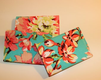 Card Wallet - Aqua Pink Coral Green Floral - Credit Card Holder, Student ID, Gift Card, Fabric Card Wallet