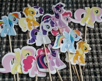 12 My Little Ponny cupcake toppers