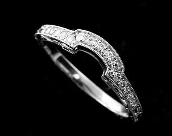 Diamond Wedding Ring, Hand Engraved Curved Wedding Band, Contour Filigree Women's Wedding Ring, Vintage Antique Style Diamond Platinum Band