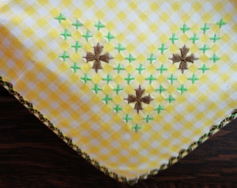 "Vintage Yellow and White Gingham Embroidered Tablecloth Square 35"" - Chicken Scratch"