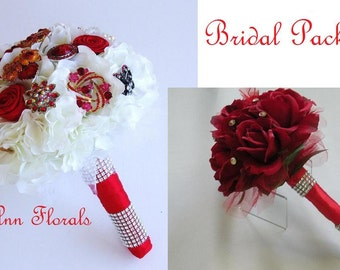 RED BROOCH BOUQUET Bridal Package; Bride's Bouquet Bridesmaid Bouquets Boutonniere and Corsages,