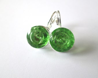 Vintage button earrings, Lime green glass buttons, silver links