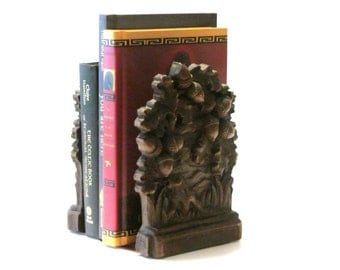 Syroco Acorn Oak Leaves Bookends Rustic SyrocoWood Library Den Decor