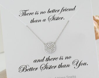 Circle Necklace, Eternity Circle, Pave Diamond Necklace, Layering necklace, sterling silver round circle, Disc Necklace, Sister Card