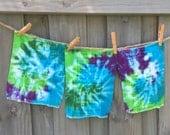 Newborn Tie Dye Prefolds Blue Green Purple Swirl