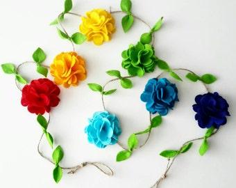 Rainbow Felt Flower Garland, Floral Garland, Home and Nursery decor, Wall hanging, Party decor, Baby Shower decorations, Rainbow nursery.
