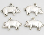 Pig Charm 10 Charms Antique Silver Tone Double Sided 18 x 12 mm - ts1012