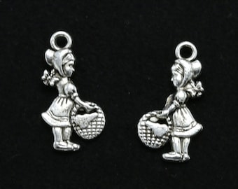 10 Girl Charms, Little Red Ridding Hood, Antique Silver Tone 22 x 11 mm - ts1024