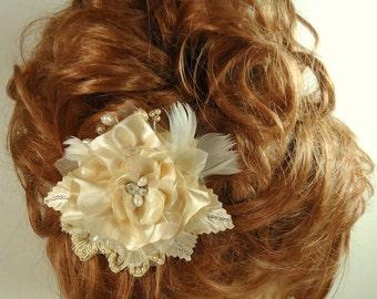 Bridal Hair Flower, Gold Hair Flower, Gold Hair Clip, Flower Hair Clip, REX16-204HC