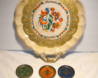 Vintage Florentine Tray and 6 Coasters Italy Gold Gilt Shabby Chic