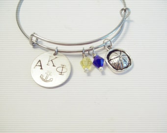 Alpha Kappa Phi Ago Sorority EXPANDABLE Bangle CHARM BRACELET Sailor Hat Blue Yellow Beads Stamped Silver Custom Made