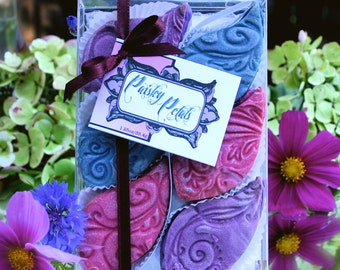 """Online Delivered Gift Boxed Cookies: Berry """"Paisley Petals"""" in Blueberry, Raspberry, and Marionberry with Buttercream Filling"""