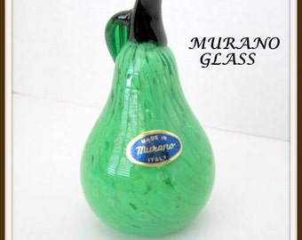 Murano Glass Pear - Green Art Glass - Hand Blown Pear Figural - Paper Weight