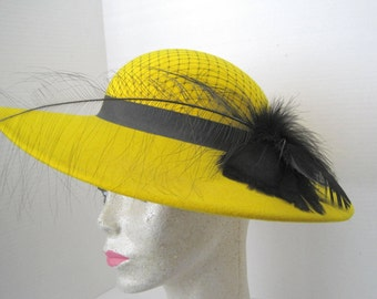 Yellow Hat -Wide Brim - Garden Party - Black Feathers and Netting