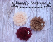 Set of 3- Burgundy, Dark Beige and Pale Peach Set/ Shabby Flower Headband/ Newborn Headband/ Baby Headband/ Flower Girl/ Photo Prop