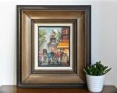 Vintage French Paris Oil Painting Framed Mid Century Art Montmarte Moulin Rouge Signed Original Oil on Canvas