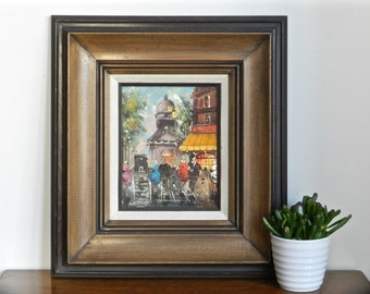 Vintage French Paris Oil Painting Framed Mid Century Art Montmarte Moulin Rouge Signed Original Oil on Canvas