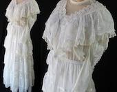 Gunne Sax Bridal Gown / Victorian / Edwardian / White / Vintage Wedding / Size 9