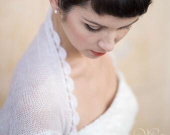 BRIDAL BOLERO wedding shrug in natural white or cream color short sleeves mohair soft