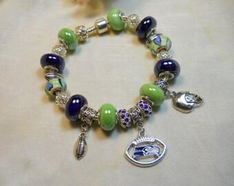 Seattle Seahawks Bracelet, European Style Blue and Green Beaded Bracelet, Football Themed Bracelet
