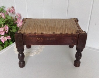 Vintage Foot Stool Walnut ~ Brown and Gold Vinyl Plastic Fabric Sturdy