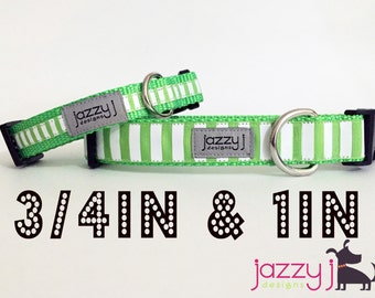 Green and White Striped Summer Dog Collar