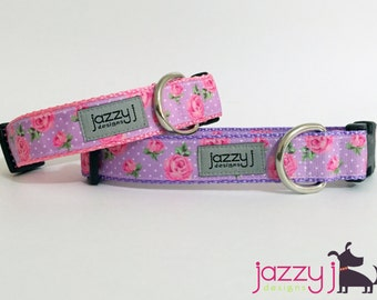 Pink Polka Dot and Lavender Roses Sweet Dog Collar