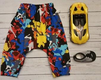 Toddlers Unisex Harem Pant- Sizes 3M to 18M- Fun Splatter Pattern