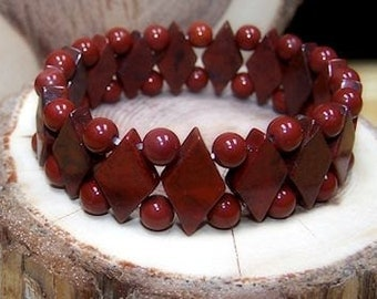 Brecciated Red Jasper stretch bracelet - One size fits most - Genuine natural stone -Gifts for her - Gifts for him