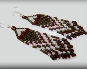 Holiday beaded fringe earrings
